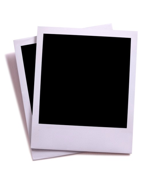 Two blank instant camera photo prints isolated on white with sha